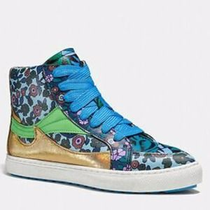 Coach C203 Floral High Top Sneakers New